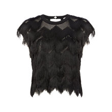 Buy Whistles Tassled Top, Black Online at johnlewis.com
