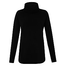 Buy Whistles Cashmere Ribbed Cowl Neck Jumper, Black Online at johnlewis.com