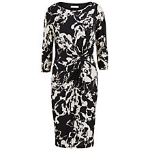 Buy Gina Bacconi Printed Ruched Jersey Dress, Black/White Online at johnlewis.com