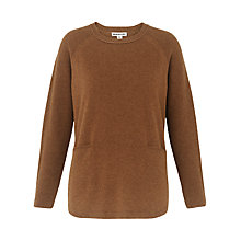 Buy Whistles Cashmere Ribbed Boxy Jumper, Brown Online at johnlewis.com