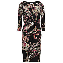 Buy Gina Bacconi Printed Ruched Jersey Dress, Black/Pink Online at johnlewis.com