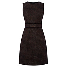 Buy Warehouse Waist Detail Tweed Dress, Black Online at johnlewis.com