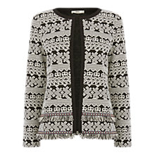 Buy Oasis Tweed Tuffty Jacket, Black/White Online at johnlewis.com