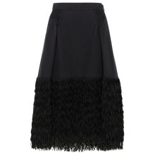 Buy Whistles Fringed Organza Skirt, Black Online at johnlewis.com