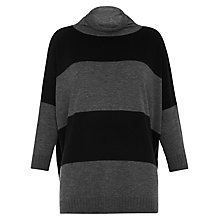 Buy Whistles Funnel Neck Stripe Knit Jumper, Grey Online at johnlewis.com