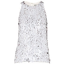 Buy Whistles Oval Sequin Top, White Online at johnlewis.com