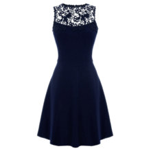 Buy Warehouse Lace Panel Skater Dress, Navy Online at johnlewis.com