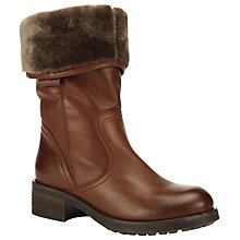 Buy John Lewis Rhonda Block Heeled Mid Calf Boots, Brown Leather Online at johnlewis.com