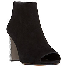 Buy Dune Daniela Jewel Heeled Peep Toe Ankle Boots, Black Suede Online at johnlewis.com
