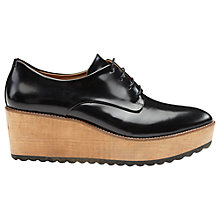 Buy Whistles Ko Wood Wedge Derby Shoes, Black Leather Online at johnlewis.com