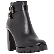 Buy Dune Pettle Twin Buckle Block Heel Ankle Boots, Black Leather Online at johnlewis.com