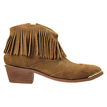 Buy H by Hudson Tala Fringed Ankle Boots, Tan Suede Online at johnlewis.com