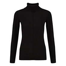 Buy East Cotton Button Detail Polo Neck Jumper, Black Online at johnlewis.com