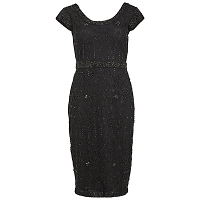 Gina Bacconi Beaded Lace Cocktail Dress Black £320.00 AT vintagedancer.com