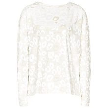 Buy Reiss Callow Animal Print Jumper, Champagne Online at johnlewis.com