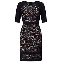 Buy Adrianna Papell Tucked Jersey Panels Sheath Dress, Black/Pale Pink Online at johnlewis.com