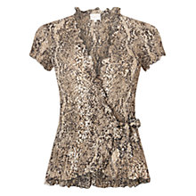 Buy East Snake Print Pleat Top, Black Online at johnlewis.com