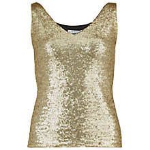 Buy Gina Bacconi Jersey And Sequin Top, Black/Gold Online at johnlewis.com