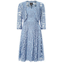 Buy Adrianna Papell Fit And Flare Dress With Lace Bolero, Dusty Blue Online at johnlewis.com