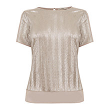 Buy Oasis Zig Zag Crinkle T-Shirt, Gold Online at johnlewis.com