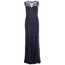 Buy Gina Bacconi Linear Beaded Maxi Dress, Midnight Blue Online at johnlewis.com