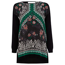 Buy Oasis Bohemian Print Army Top, Multi Black Online at johnlewis.com