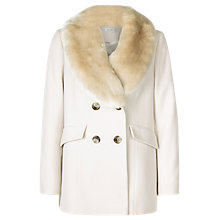Buy Kaliko Faux Fur Collar Short Coat, Multi/Cream Online at johnlewis.com