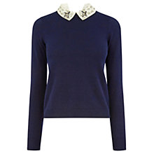 Buy Oasis Embellished Collar Knit Jumper, Navy Online at johnlewis.com