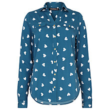 Buy Sugarhill Boutique Lexi Heart Print Shirt, Green Online at johnlewis.com