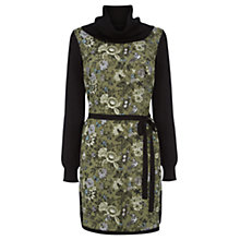 Buy Oasis Cowl Neck Floral Printed Dress, Khaki Online at johnlewis.com