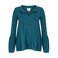 Buy East Merino Tie Detail Jumper, Teal Online at johnlewis.com