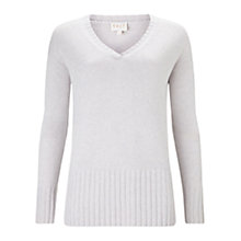Buy East V Neck Rib Detail Jumper, Smoke Online at johnlewis.com