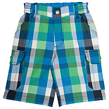 Buy Frugi Organic Boys' Check Shorts, Green/Blue Online at johnlewis.com