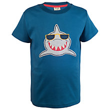 Buy Frugi Organic Boys' Stanley Shark Applique T-Shirt, Navy Online at johnlewis.com