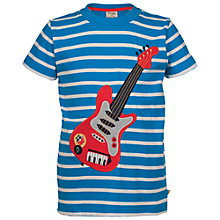 Buy Frugi Organic Boys' Guitar Fowey Applique Stripe T-Shirt, Blue Online at johnlewis.com
