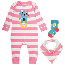 Buy Frugi Organic Baby Bubly Stripe Cat Sleepsuit 3 Piece Set, Pink/Multi Online at johnlewis.com