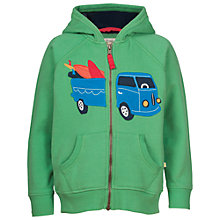 Buy Frugi Organic Boys' Zip Up Camper Hoodie, Green Online at johnlewis.com