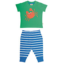 Buy Frugi Organic Baby Crab and Stripe Top and Trousers Set, Green/Blue Online at johnlewis.com