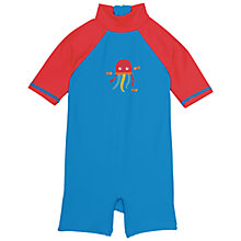 Buy Frugi Organic Baby Sun Safe Jellyfish Swimsuit, Blue/Red Online at johnlewis.com