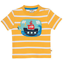 Buy Frugi Organic Baby Boat Bottle T-Shirt, Yellow/Multi Online at johnlewis.com