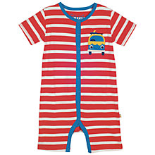 Buy Frugi Organic Baby Stripe Camper Romper Playsuit, Red/Multi Online at johnlewis.com