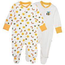 Buy Frugi Baby Rainbow Sleepsuit, Pack of 2, Yellow/White Online at johnlewis.com