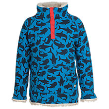 Buy Frugi Boys' Shark Snuggle Fleece, Blue/Cream Online at johnlewis.com