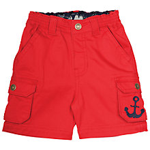 Buy Frugi Organic Baby Explorer Anchor Shorts, Red Online at johnlewis.com