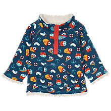 Buy Frugi Organic Baby Snuggle Nautical Reversible Fleece, Navy/Cream Online at johnlewis.com