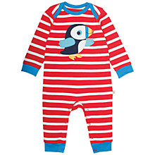 Buy Frugi Organic Baby Stripe Puffin Sleepsuit, Red/Multi Online at johnlewis.com