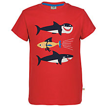 Buy Frugi Organic Boys' Shark Applique T-Shirt, Red Online at johnlewis.com