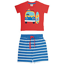Buy Frugi Organic Baby Camper T-Shirt and Stripe Shorts Set, Red/Blue Online at johnlewis.com
