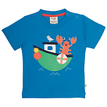 Buy Frugi Organic Baby Lobster Boat T-Shirt, Blue Online at johnlewis.com