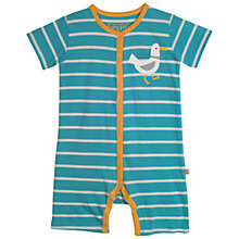 Buy Frugi Organic Baby Stripe Seagull Romper Playsuit, Blue/Multi Online at johnlewis.com